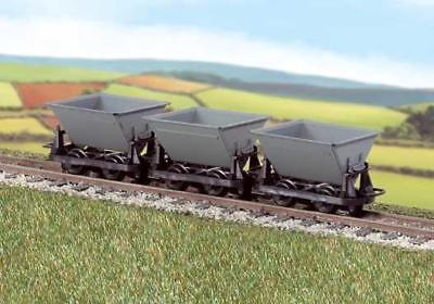 PECO GR-331  OO-9 SCALE Side Tipping Hudson 'Rugga' V-skips Grey Pack of 3