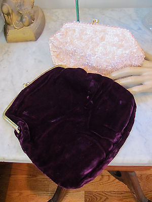 LOT-2) VTG 1960s PURSES *PURPLE VELVET and PINK SEQUIN-SEED BEAD CLUTCHES $16.99