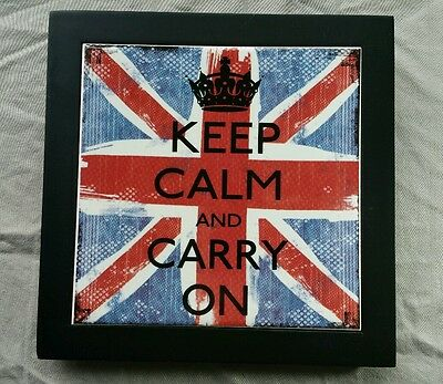 Trivet Hotplate Louise Carey Wall Hanging Keep Calm and Carry On British Flag