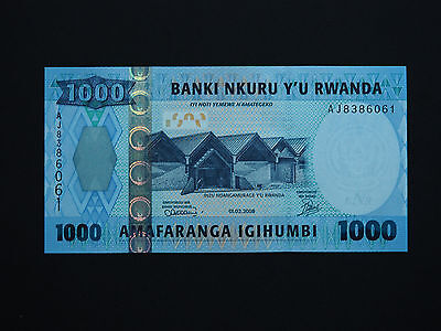 Rwanda Banknotes  - Superb  1000  Francs Note In  * Gem Unc *   Date  2008