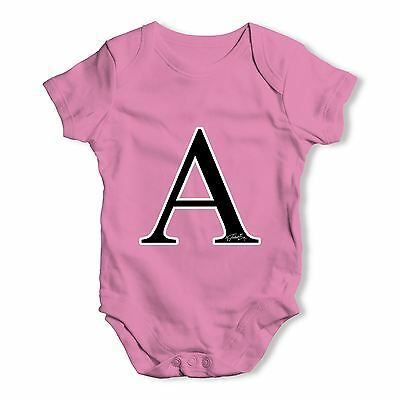 Twisted Envy Alphabet Monogram Letter A Baby Unisex Funny Baby Grow Bodysuit