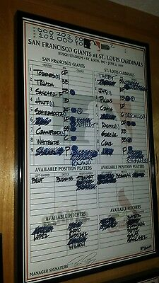 Giants / Cardinal 2011 game-used lineup card.  Aubrey Huff-3 hr,