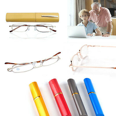 Men Women the same paragraph Metal Reading Glasses 1.00-4.00 With Tube Case Good