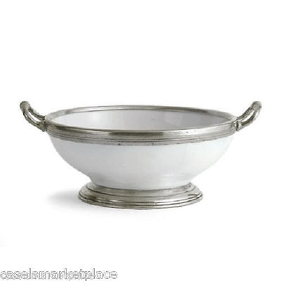 Arte Italica Tuscan Ceramic and Pewter Medium Bowl with Handles Made in Italy