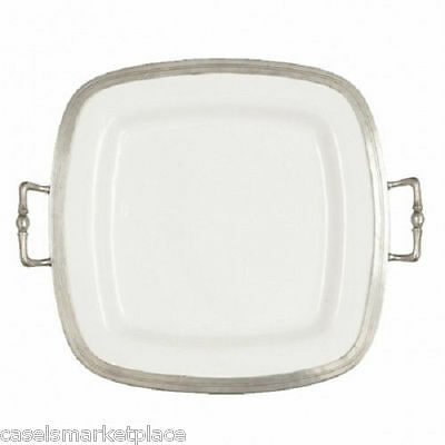 Arte Italica Tuscan Ceramic / Pewter Square Serving Tray w/Handles Made in Italy