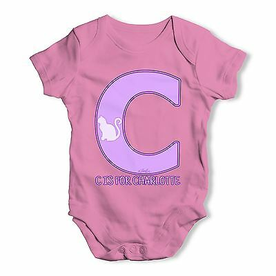 Twisted Envy Personalised Letter C Baby Unisex Funny Baby Grow Bodysuit