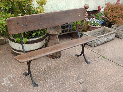 Antique  Rustic  Pine And Cast Iron  Bench
