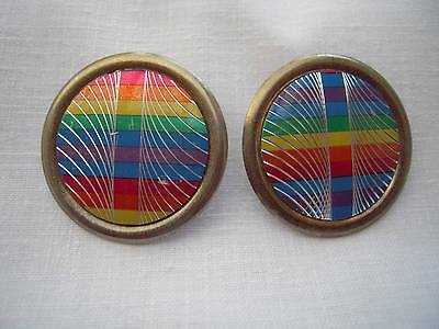 Vintage 50's PSYCHEDELIC CLIP-ON Earrings