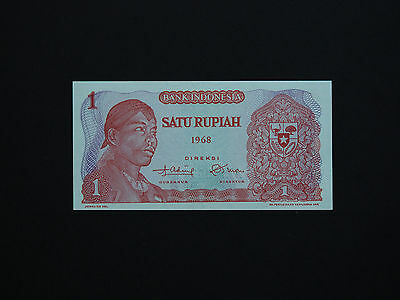 Indonesia  Banknotes - 1 Rupiah - Great Old Note  * Gem Unc *    Date  1968