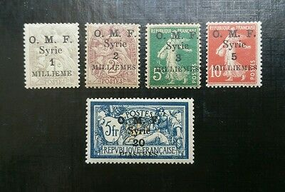 Syria, 1920, Sc 25-29, Sc 25 and 28 MNH, the rest MH, bright and fresh colors.