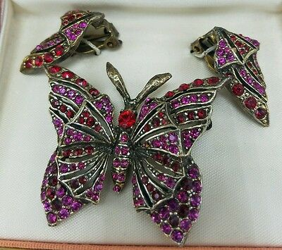 Vintage Butterfly Brooch Earring Set Red Purple Pink in Stylist Box