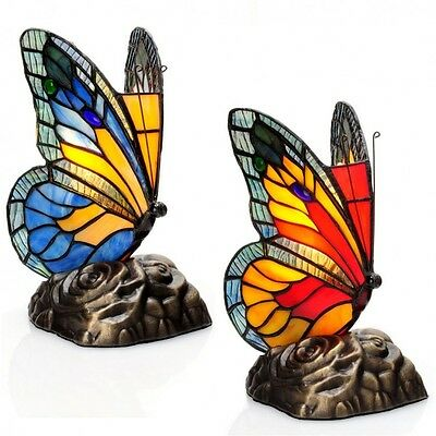 Butterfly Accent Lamps 2 Pc Tiffany Style Multi Color Touch Stained Glass Bronze