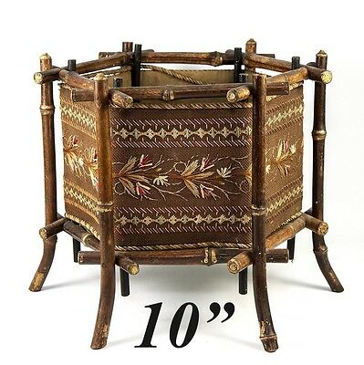 """Antique French Jardiniere, Sewing Basket, Box 10"""", Bamboo Embroidered in Silk"""