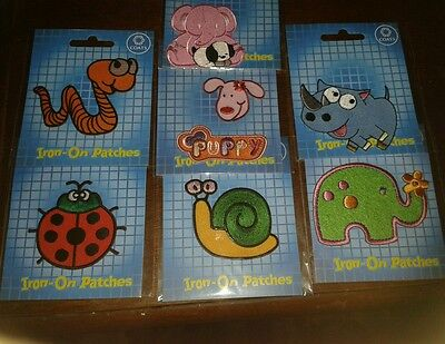 7 Packs Cute Animal Iron on patches