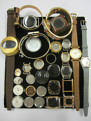 Lot Watch Parts Dials Movements Crowns Stems Cases Crystals Bezels etc Steampunk
