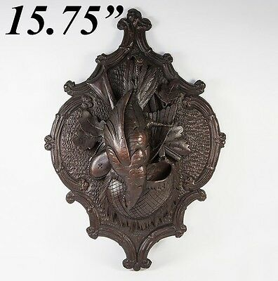 """Antique Hand Carved Black Forest """"Fruits of the Hunt"""" 15.75"""" Wall Plaque, Match"""