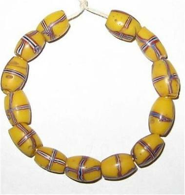 Antique Venetian Oval French cross glass trade beads