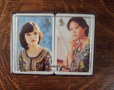 Vintage 2 Singapore Airlines Playing Cards Deck Hard Plastic Case Beautiful Girl