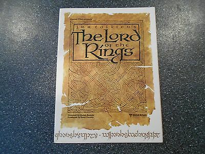 LORD OF THE RINGS 1978 MOVIE BROCHURE FOLDOUT VG Ralph Bakshi Tolkien Animation