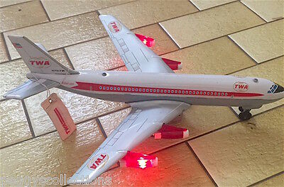Vintage Collectible Tinplate Battery Operated Twa Boeing Jet Plane Marx Toys
