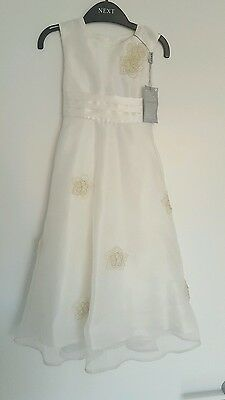 Next Girls Ivory Corsage Bridesmaid Wedding Christening Dress 3 - 4 Years new