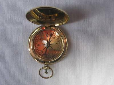 Antique Vintage Hunter Style Polished Brass Pocket Compass-Ross Of London-Fab!