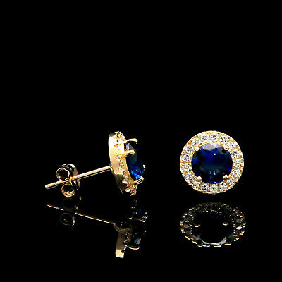 2.00CT Halo Created Sapphire Blue Diamond Stud Round Earrings 14k Yellow Gold