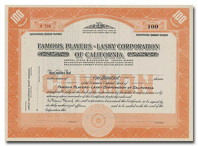 Famous Players-Lasky Corporation of California Stock Certificate