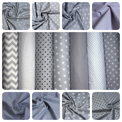 100 % COTTON FABRIC HIGH QUALITY Grey, White Stars, Polka, ZigZag,Stripe,PATTERN