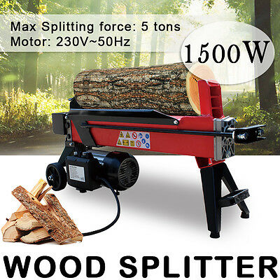 5 Ton Electric Hydraulic Log Splitter Firewood Wood Timber Cutter Motor