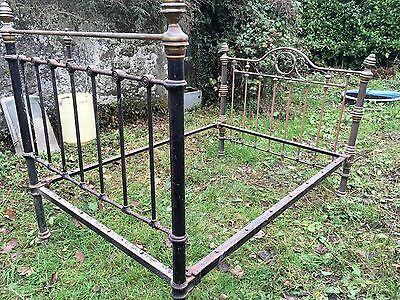 cast iron bedstead double vintage barn find  late1800's