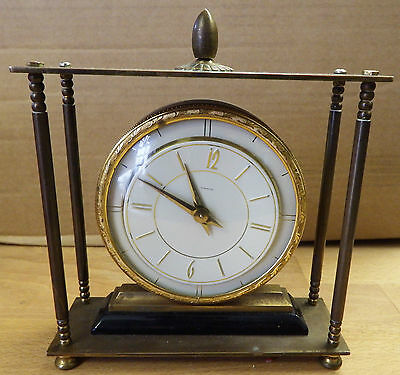 Vintage 50's Smiths Dominion art deco mantel clock with solid brass frame