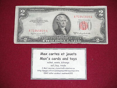 1953-B $2 two dollar bill red seal block circulated A71945809A U.S. currency
