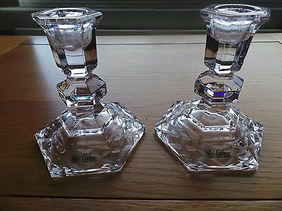 Pair of 'Galway' Crystal Glass Candlesticks
