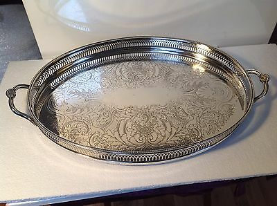 Vintage Silver Plate Cavalier Sheffield Gallery Large Oval Tray