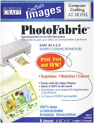 Blumenthal Craft Crafter's Images Inkjet Photo Fabric 100% Cotton Canvas 5 Sheet