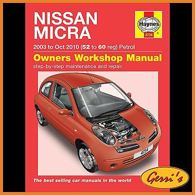 4734 Haynes Nissan Micra Petrol (2003 - Oct 2010) 52 to 60 Workshop Manual