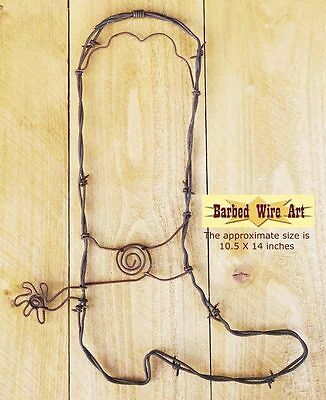 Cowboy Boot - handmade metal decor barbed wire art country western sculpture