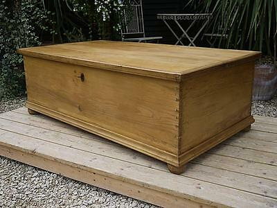 Mega Large!!! Old Antique Pine Blanket Box Chest/trunk/toy Storage/coffee Table