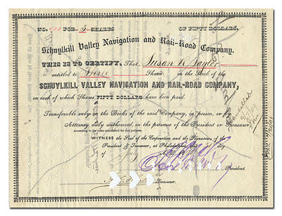 Schuylkill Valley Navigation and Rail-Road Company Stock Certificate