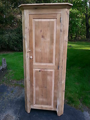 Antique Amish Built Handmade Unfinished Reclaimed Barn Wood Small Corner Cabinet