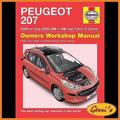 4787 Haynes Peugeot 207 Petrol & Diesel (2006 - July 2009) Workshop Manual