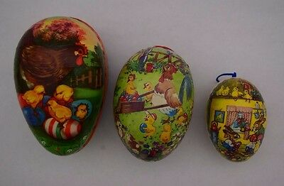 Vintage Paper Mache Easter Eggs Set of 3 Candy Containers East Germany GDR 1950s