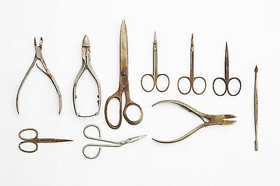 Lot of 9 Antique Revlon Style Stainless Steel Sewing Embroidery Scissors Snips