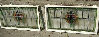 Antique Archectural Pair Leaded Glass Windows 8896