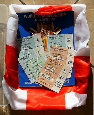 ALL OF ENGLAND'S SIX World Cup 1966 GAMES TICKET STUBS & GENUINE FINAL PROGRAMME