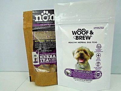 WOOF & BREW Skin & Coats 7 Day Doggy Dog Puppy Tea and Biscuits Set Treat