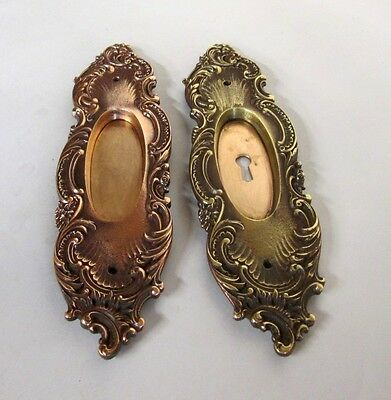 Fancy Set Antique Victorian Polished Brass/bronze French Pocket Door Plates # 10