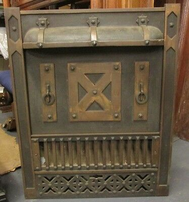 Rare Original Finish Antique Tudor Style Iron & Brass Surround Estate # 114