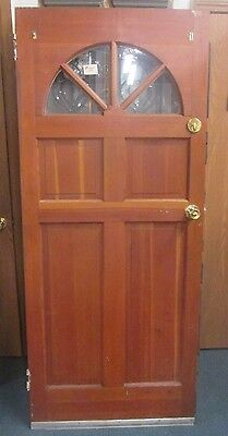 Very Fine Vintage Exterior Solid Wood Door W/ Glass Pane Arch Estate # 55